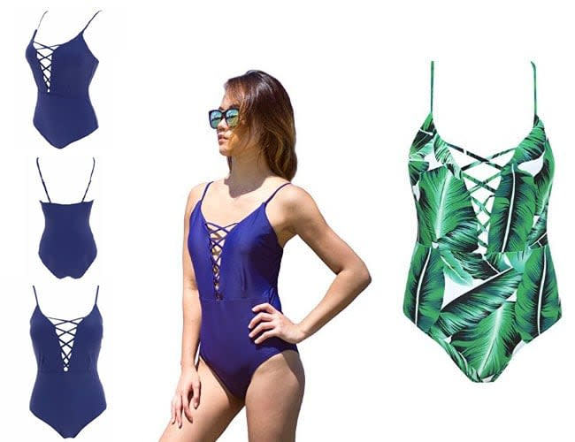 Swimsuits One Piece, Pin Up Monokinis,Bathing Dress, best one piecs bathing suits blue color