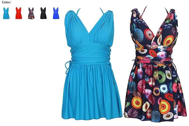 Swimsuit women- swimwear-swimming suit -skirt-Bathing Suit-Monokini- bikini-black-blue-sky blue-pink-red-perpel