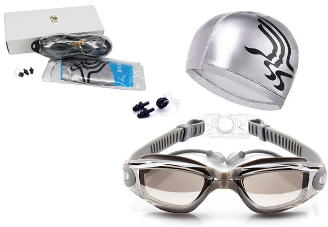 swim caps and goggles - unique swim caps Custom Swim Caps - Silicone Swim Caps - Swim Goggles + Swim Cap + Case + Nose Clip + Ear Plugs Swimming Goggles Waterproof Mirrored & Clear Anti Fog UV400 Protection Lenses for Adult Men Women Youth Kids 2018