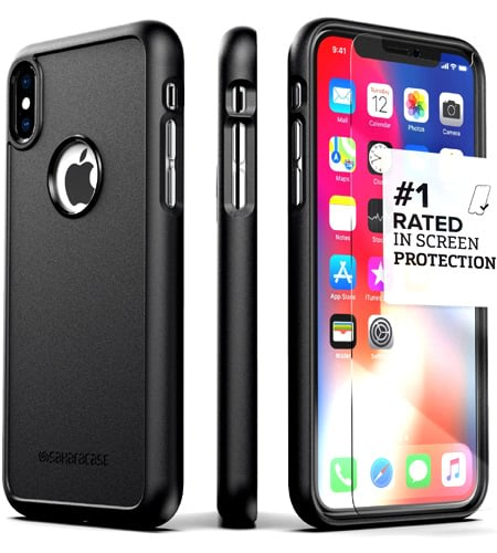 SaharaCase Best iPhone X Case with Tempered Glass Screen Protector & Slim Fit Commuter Series Compatible iPhone X Cases best case for iphone x best iphone x cases cool iphone cases