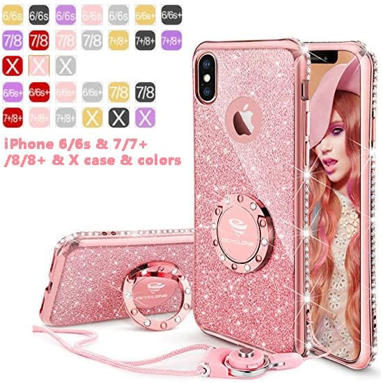 OCYCLONE iPhone 7 Plus 8 Plus & x Case Glitter Cute Phone Case For WomensGirls Rose Gold & Many More Colors Available