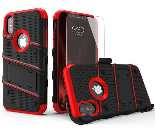 best iPhone case Zizo Bolt Series FREE iPhone X Screen Protector Holster Belt Clip Black_Red & Desert Tan Camo Green & 8 More Colors Available