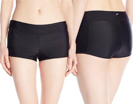Speedo Women's PowerFLEX Eco Solid Boyshort Bikini Bottom - boyshort swim bottoms - boyshort bikini bottoms - boyshort panties - boyshort swimsuit bottoms - booty shorts