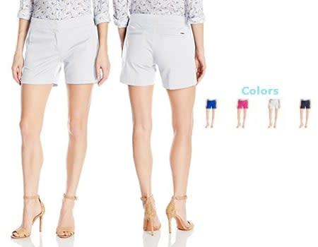 15. Nautica Boardshorts Womens Stretch Chino Twill Sailor 5inc Short Women's Shorts Sandshell Bermuda Shorts red, blue, pink, black