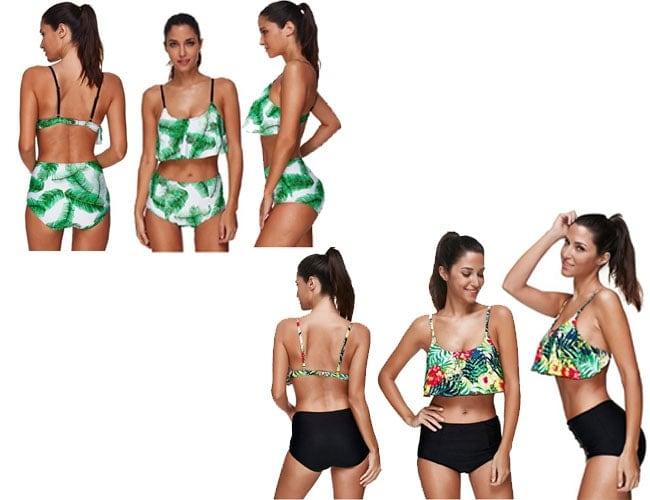 ruffle top bikini, halter top bikini, ruffled top bikini, ruffled top bikini, racerback bikini top, woman bikini top, black small bikini tops, bandeau bikini, coconut bathing suit top, Vintage Coconut Print Swimsuit,