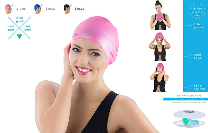 pink swim caps - swim hats -girls swim caps - quality swim - Swim Elite Silicone Swimming Cap for Long Hair PLUS Nose Clip