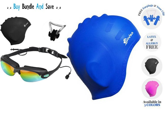 Swim Shower Cap with Ear Protector Goggles with Attached Ear Plugs Nose Clip Anti-Reflection Lens Protective Case... & 5 Piece Swimming Bundle Package