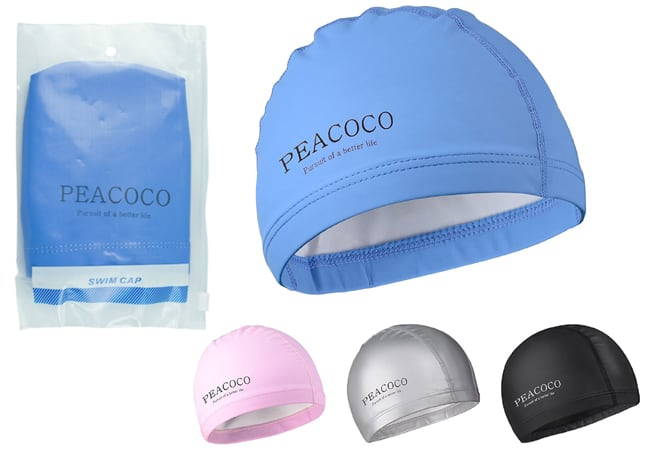 Silicone Swim Caps - Peacoco Lycra Swim Cap PU Swimming Cap for Women Girls Men Adult Youth and Kids Waterproof Swim Caps Protective Ear Caps-Keep Long Hair Dry-Training and Racing