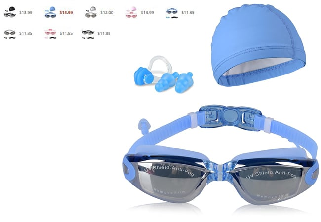 Peacoco Swim Goggles,Swimming Goggles Anti Fog No Leaking UV Protection with PU Swim Cap,Earplugs,Nose Clips and Case for Men Women Adult Youth Kids Child