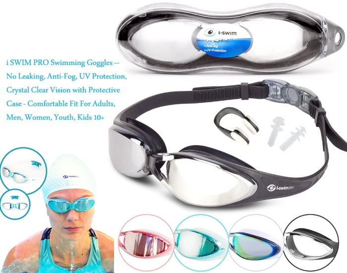 swim glasses - U-FIT Performance Swimming Goggles + Ear And Nose Plug – Non-Leaking Anti Fog UV Protection Triathlon Swim Goggles with Protection Case for Men Women Youth Kids