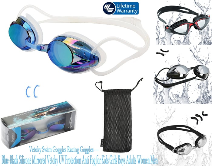 Racing professional swimmers pool goggles - Blue-Black Silicone Mirrored Vetoky UV Protection Anti Fog for Kids Girls Boys Adults Women Men - best swimming goggles-swim googles-swim glasses-gooles-pool-goggle-anti-fog-best-swim-goggles