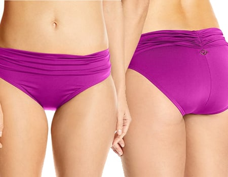 pink underwear boyshort panties Solid Shirred Waist Bikini Bottom womens swim shorts womens surf shorts boyshorts - hanes panties