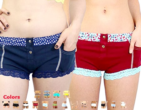 womens board shorts - swim shorts for women - Women's Cotton Boyshorts - Underwear with Pockets FOXERS Cotton Boy Shorts Panties Sexy Lace Panties boyshorts pant for women pink red blue black for swim