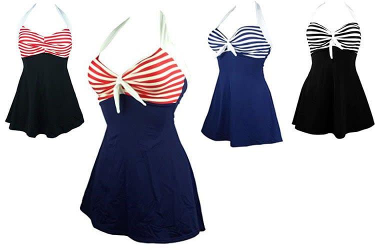 Sailor Girl Swim Dress Tankini Sold as Top, Bottom, swimdress, swimdresses, red swim dress, bathing suit dress, swimsuit dress, pink swimdress, black swim dresses, sexy swim dresses, long swim dress, one piece swim dress, dress swim wear, swimsuit long skirt