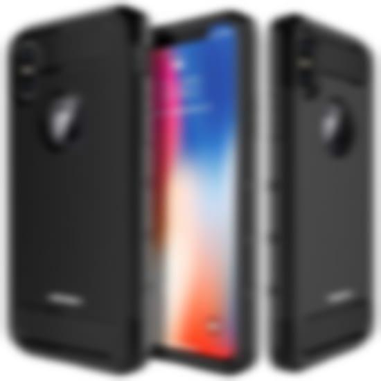 MASCHERI For iPhone X Case -Carbon Fiber Design-Shock Absorption Protective Dual Layer Military-Grade Defender Hybrid Case Cover for Apple iPhone X - Black - iphone x defender cases