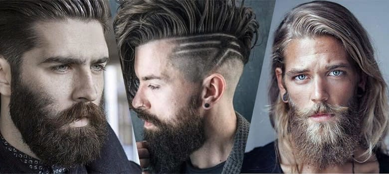 scruffy beard style with long hairstyles