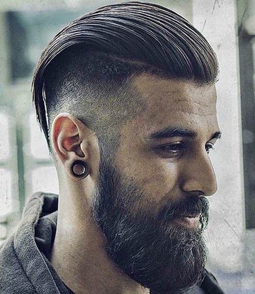 Long Slick Back + Tapered Sides