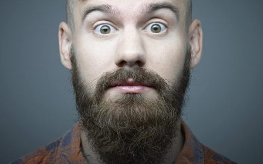 Regular beard with thick mustache