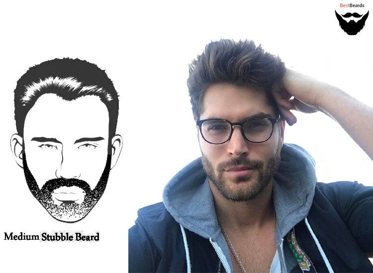 Medium Stubble Beard Style - best beard styles, facial hair styles, popular men and young boy beards style