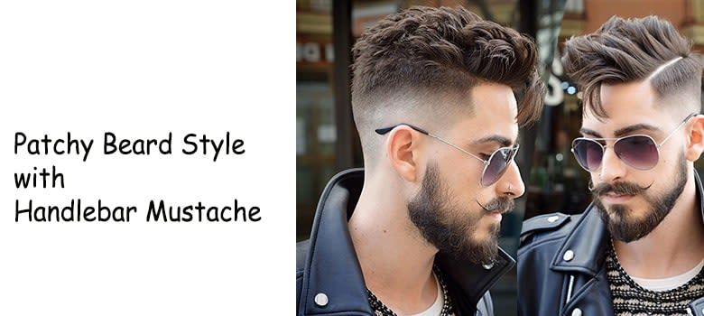 Patchy Beard Handlebar Mustache