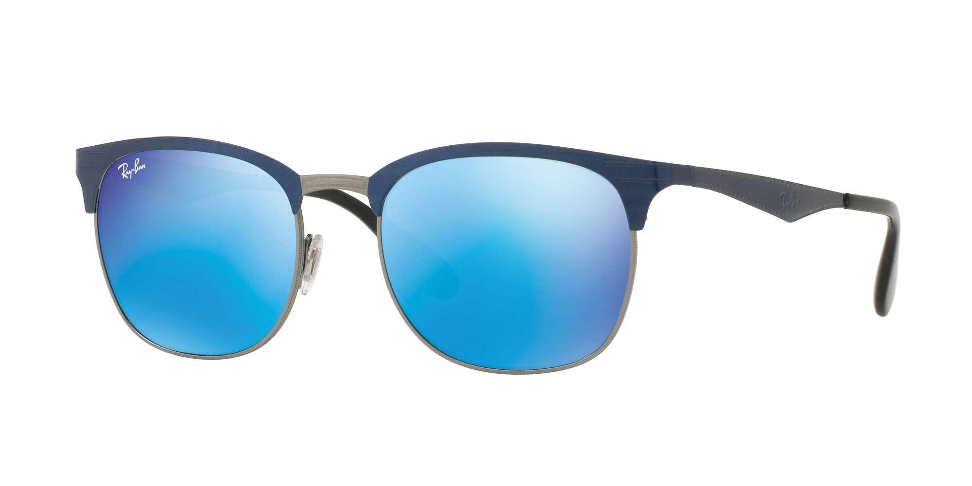 Top Blue On Gunmetal / Green Mirror Blue lenses