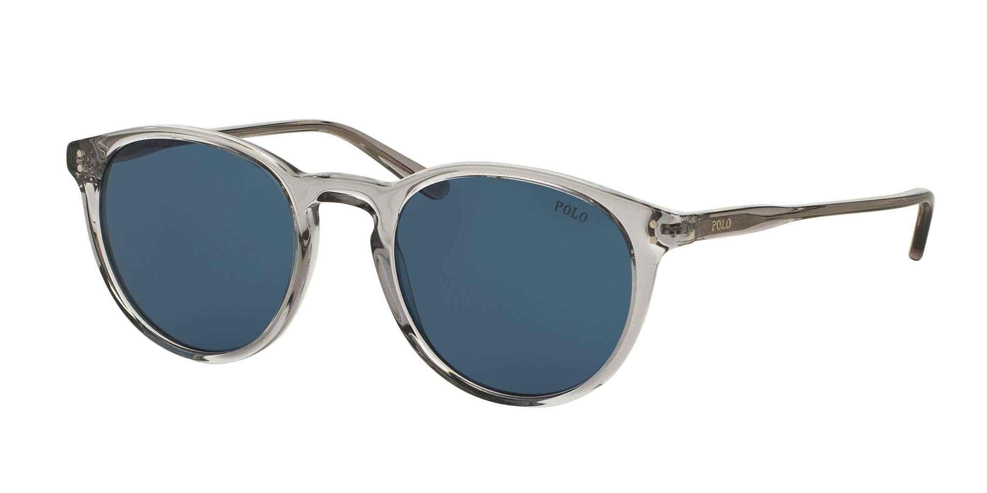 SHINY SEMI TRASP GREY / DARK BLUE lenses