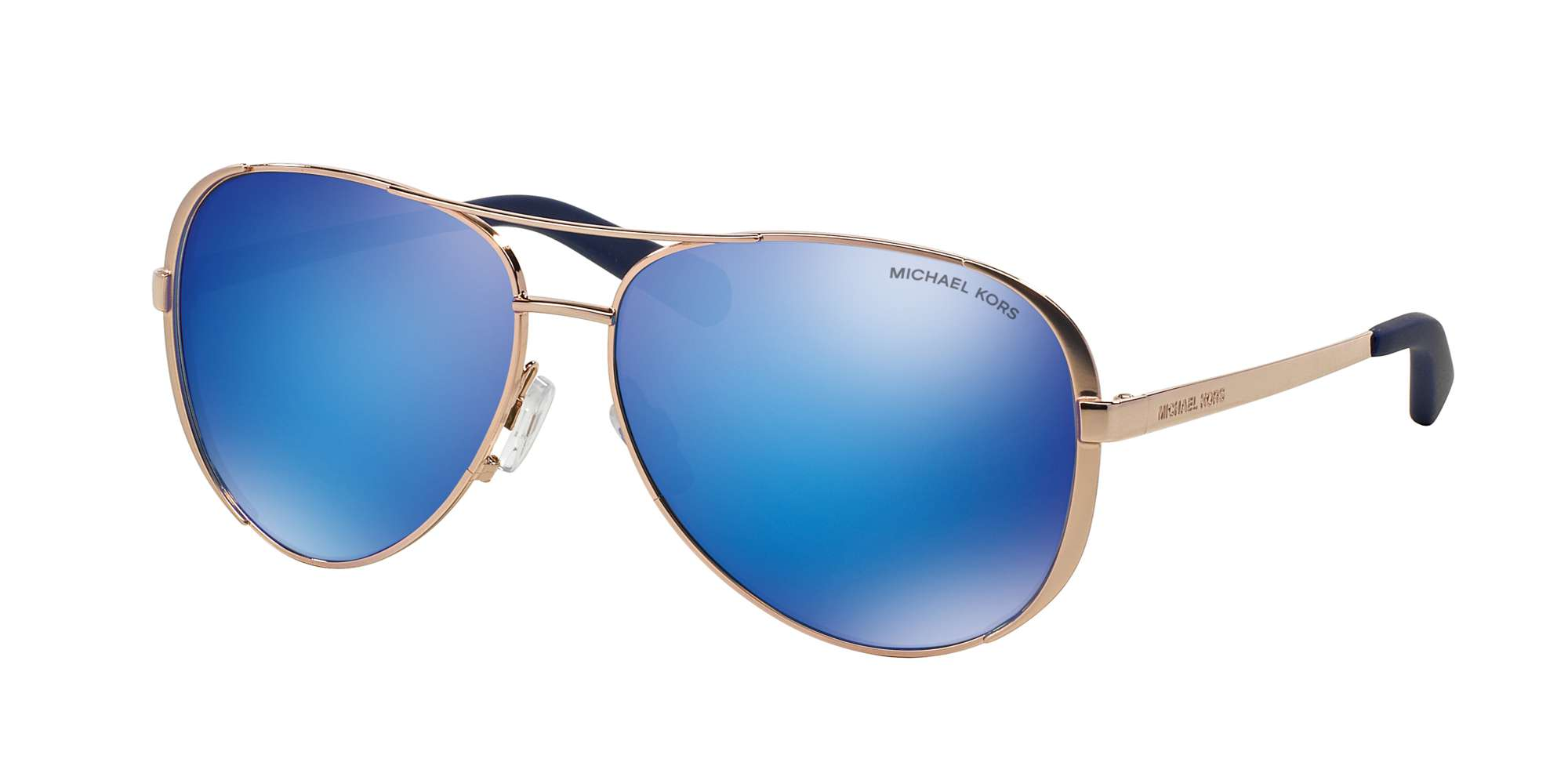 ROSE GOLD-TONE / BLUE MIRROR lenses