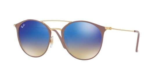 GOLD TOP BEIGE / BLUE FLASH GRADIENT lenses