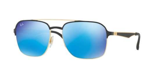 GOLD SHINY BLACK / LIGHT GREEN MIRROR BLUE lenses