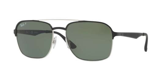 SILVER TOP SHINY BLACK / DARK GREEN POLAR lenses