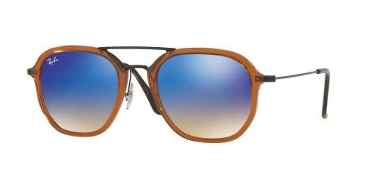 SHINY TRASPARENT BROWN / BLUE FLASH GRADIENT lenses