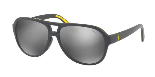 MATTE GREY YELLOW RUBBER / MIRROR SILVER lenses