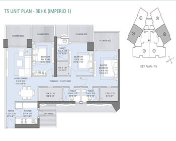 L&T Crescent Bay Parel Floor Plan - T5 (3 BHK) Imperio 1