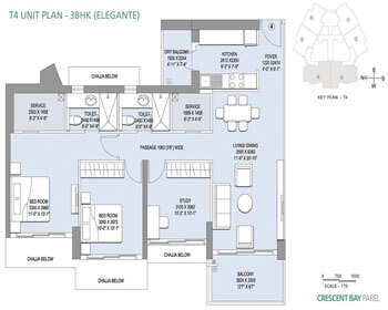 L&T Crescent Bay Parel Floor Plan - T4 (3 BHK)