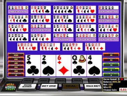 Play Multi-hand Double Bonus Poker in our Bitcoin Casino