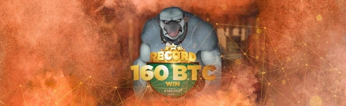 Выигрыш в 160 BTC за один спин в биткоин казино Cloudbet