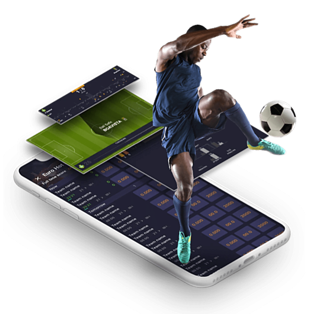 Footballer hovering over a phone