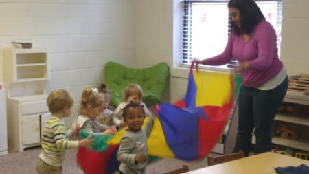 Preschoolers playing together at Bethel United Methodist.