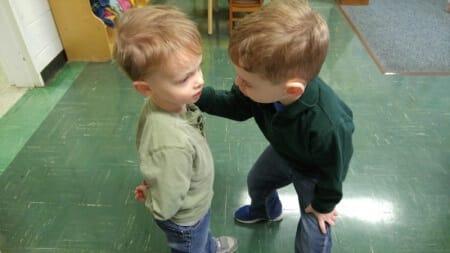Preschool boys talking at Bethel United Methodist.