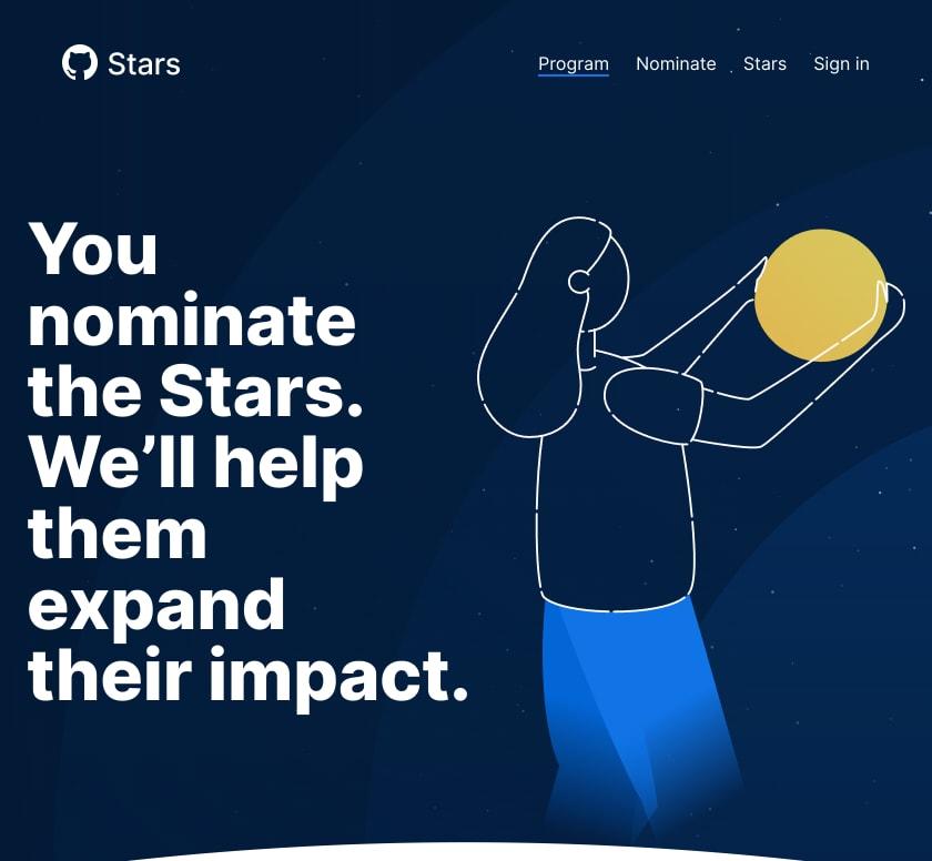 Neste imagem é exibido a página inicial do site stars.github.com/program