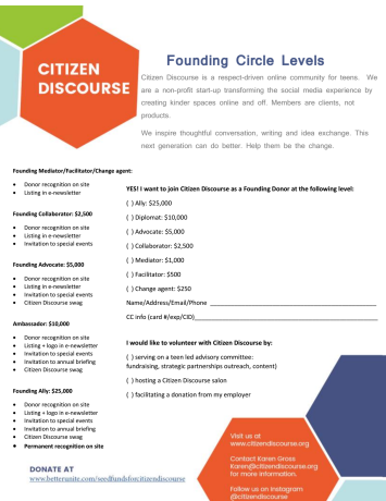 Seed funds for Citizen Discourse by Citizen Discourse