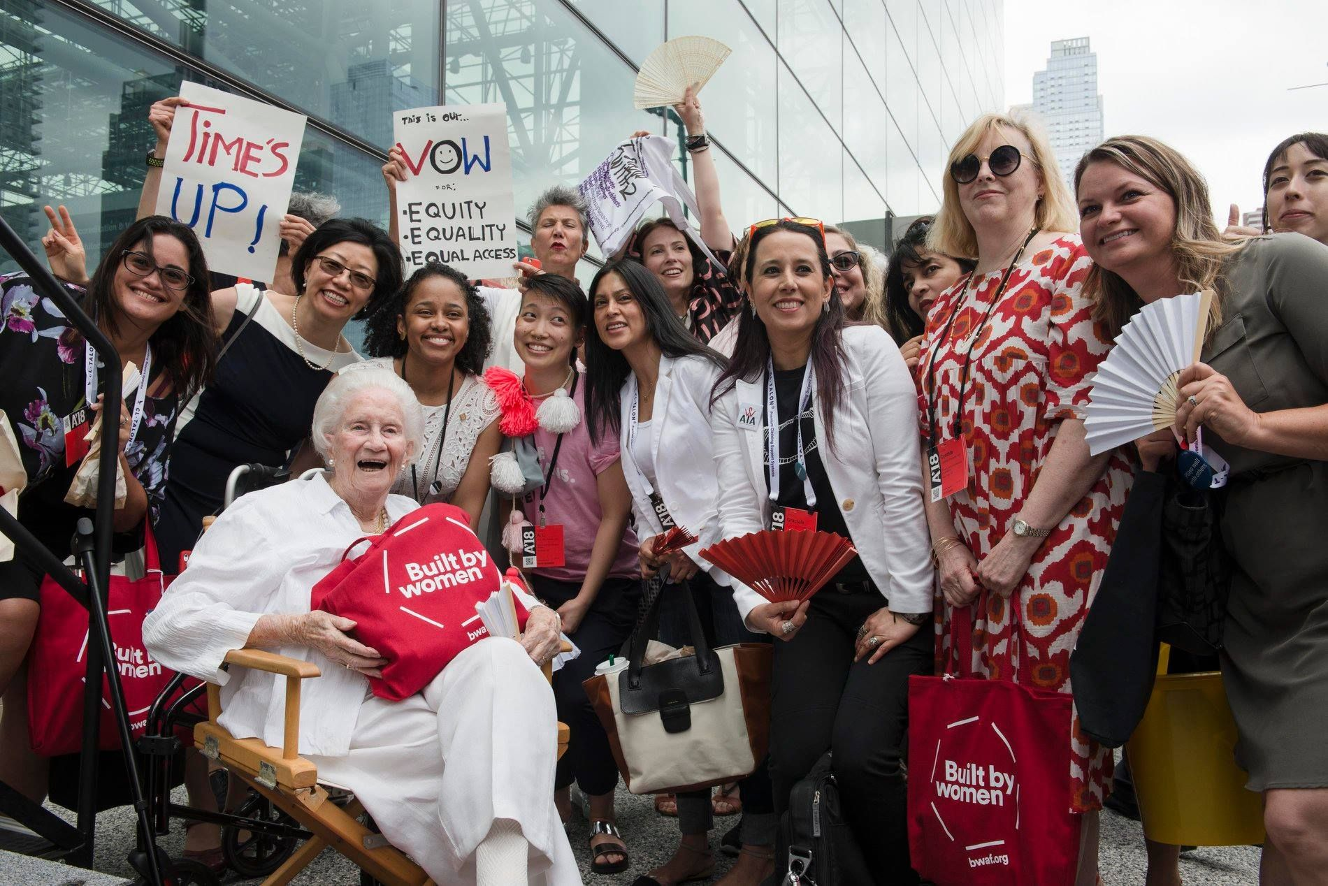 Founder Beverly Willis and Executive Director Cynthia Phifer Kracauer in a Time's Up Flash Mob, 2018
