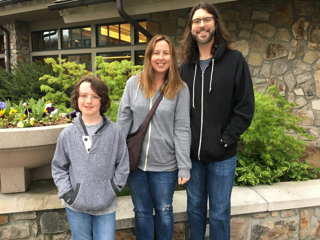 Rachel Brougham with her husband Colin and son Thom