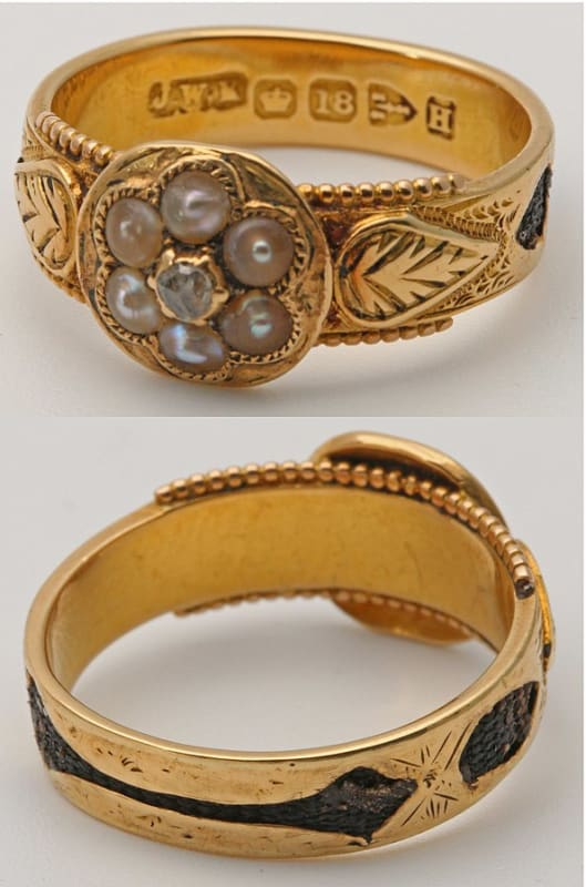 A Victorian mourning ring with hair sealed into the gold.