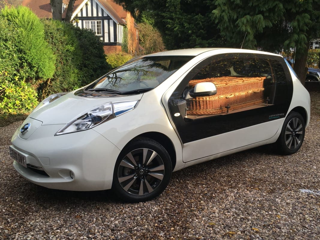 A Natural Undertaking's white converted Nissan Leaf eco-hearse