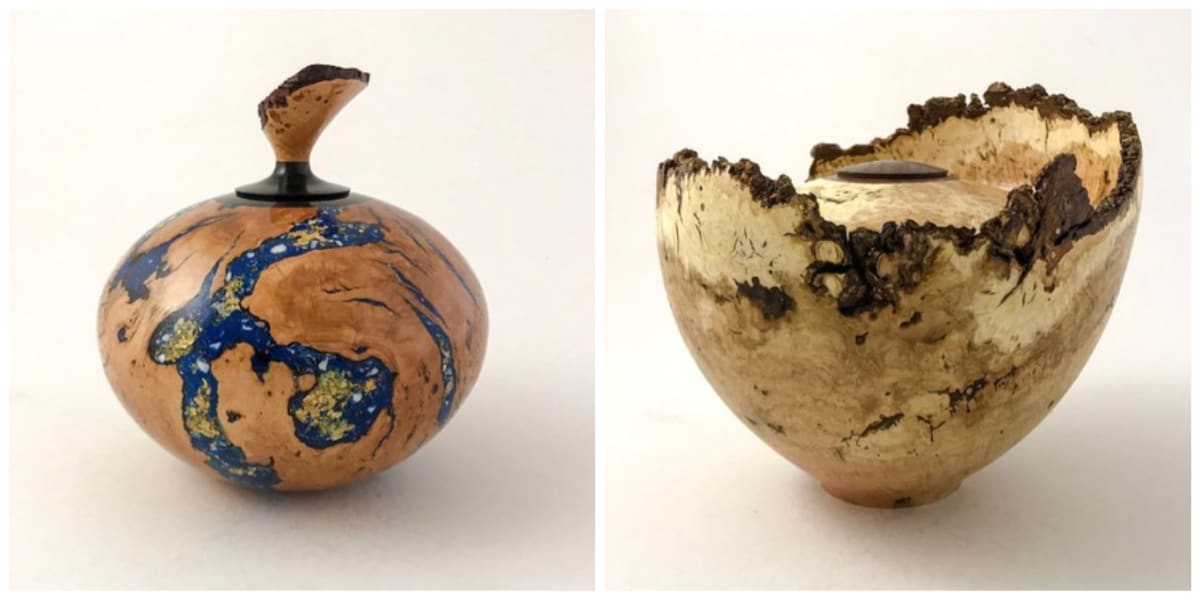 Unique urns woodturned by Martin van der Wilt