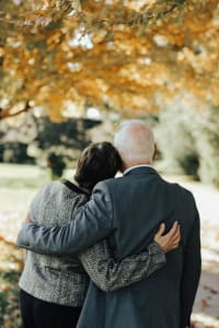 Man and woman at a funeral