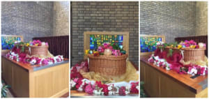 Wicker coffin decorated by Go Simply Funerals