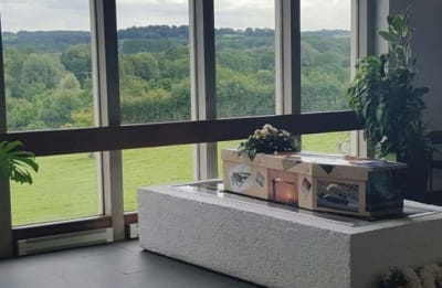 A decorated coffin lies in front of a window at a funeral arranged by A Natural Undertaking