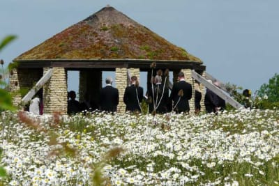 A funeral at the natural burial grounds often used by A Natural Undertaking